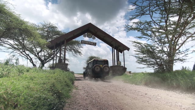 stockvideo's en b-roll-footage met vehicle drives under welcome to serengeti sign - wiese
