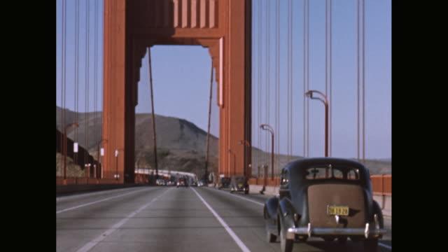 WS POV Vehicle moving on Golden Gate Bridge / San Francisco, California, United States