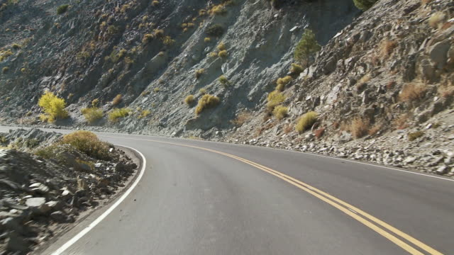 WS POV Vehicle moving on mountain road / Wrightwood, California, USA