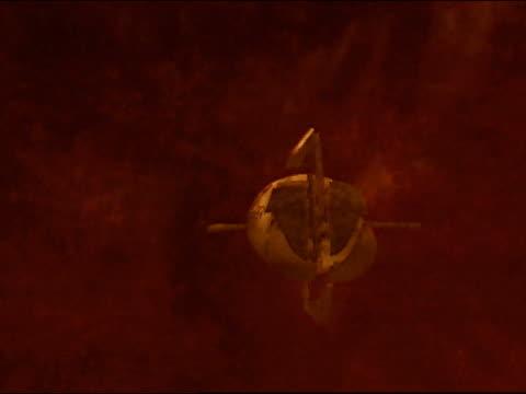 CGI vehicle moving towards centre of earth, animation