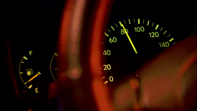 a vehicle speedometer displays 80 mph as it travels at night. available in hd. - speedometer stock videos & royalty-free footage