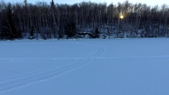 Vehicle tracks on frozen Lake