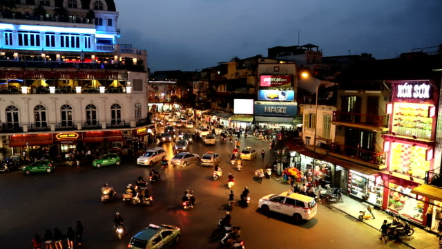 vehicle traffic at night ba dinh square illuminated hanoi north vietnam - hanoi stock videos and b-roll footage