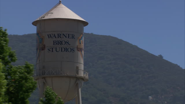 Vehicle POV TS MS Warner Brothers Studios Water Tower / Hollywood, California, United States.