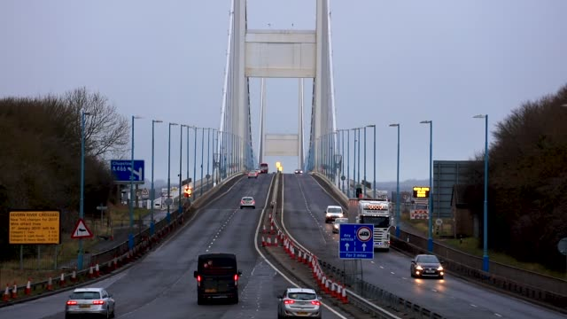 Vehicles approach the M4 Second Severn Crossing on the day that the tolls were lowered for the first time since the motorway link between England and...