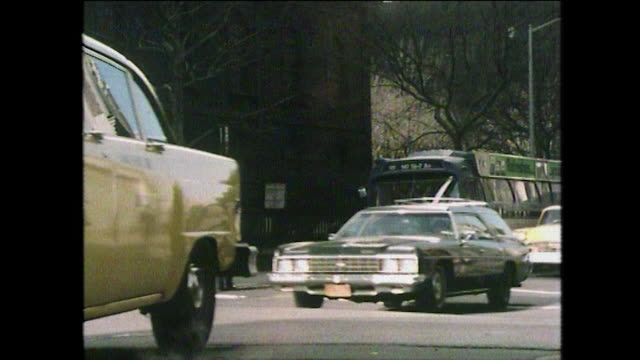 vehicles driving on uneven roads in new york; 1975 - anno 1975 video stock e b–roll