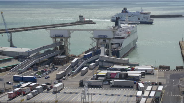 vehicles entering cross-channel ferry at dover - brexit stock videos & royalty-free footage