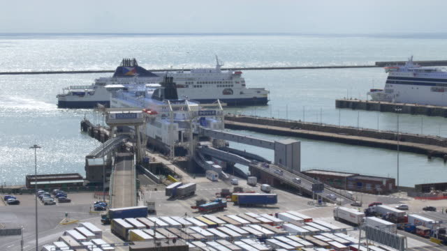 vehicles entering cross-channel ferry at dover - global politics stock videos & royalty-free footage