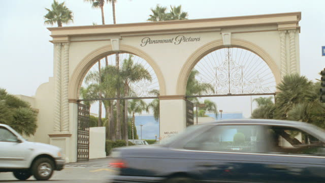 vehicles go through the melrose gate at hollywood's paramount studios. - paramount studios stock videos & royalty-free footage