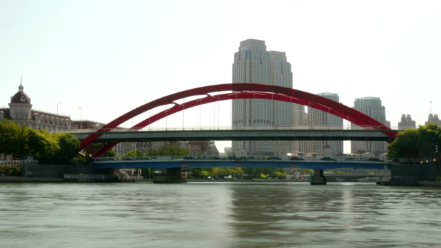 vehicles in cities pass on bridges, canal bridges - tianjin stock videos & royalty-free footage