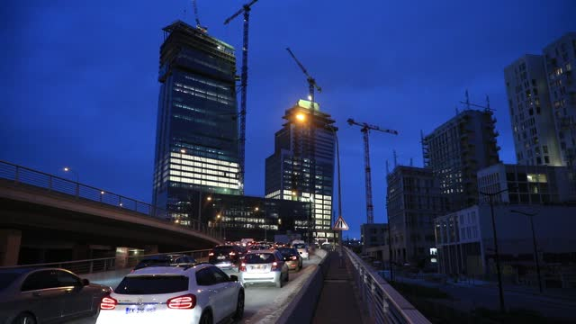"""vehicles in traffic jams at the entrance to the ring road, as background the """"tours duo"""" skyscrapers by famous architect jean nouvel, a construction... - vienna austria stock videos & royalty-free footage"""