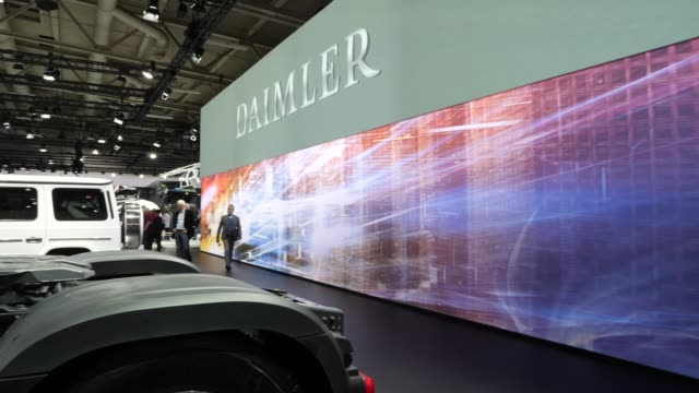 vehicles on display at the annual daimler ag shareholders meeting on may 22, 2019 in berlin, germany. daimler has struggled with falling sales in its... - annual general meeting stock videos & royalty-free footage
