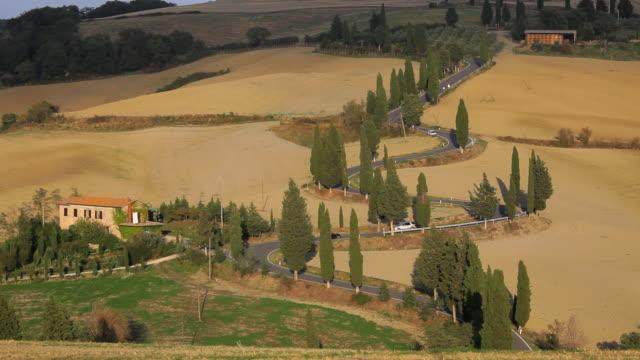 Vehicles on road winding through the Italian countryside, Tuscany, Italy, Europe