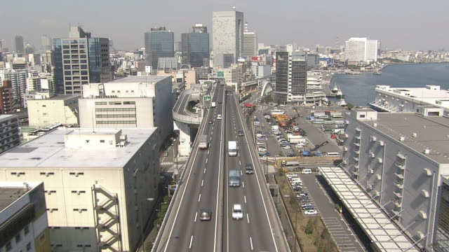 WS POV AERIAL  Vehicles passing through tollway / Tokyo, Japan