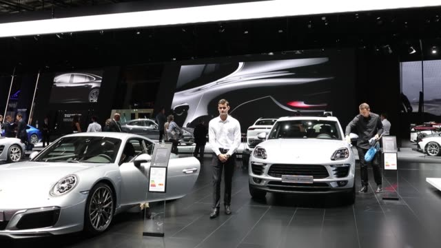 Vehicles sit at the Audi AG stand during the second press day of the Paris Motor Show at Porte de Versailles exhibition center in Paris France on...