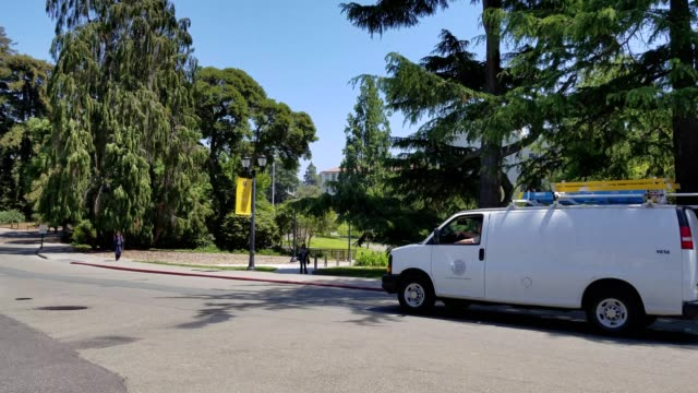 Vehicles travel through the campus of UC Berkeley on a sunny day in Berkeley California May 21 2018