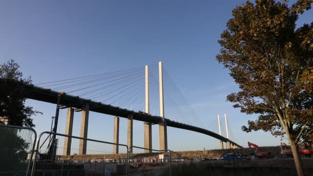vehicles traveling over dartford crossing near dartford, kent, uk on wednesday, september 18, 2019. - welcome sign stock videos & royalty-free footage