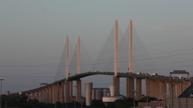 vehicles traveling over dartford crossing near dartford kent uk on wednesday september 18 2019 - twilight stock videos & royalty-free footage