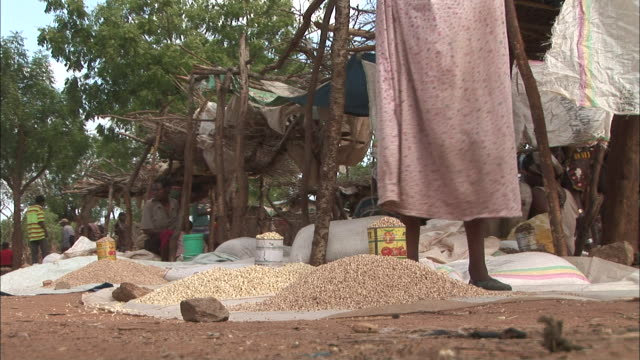 a vendor scoops grain at an outdoor market in ethiopia. - horn of africa stock videos & royalty-free footage