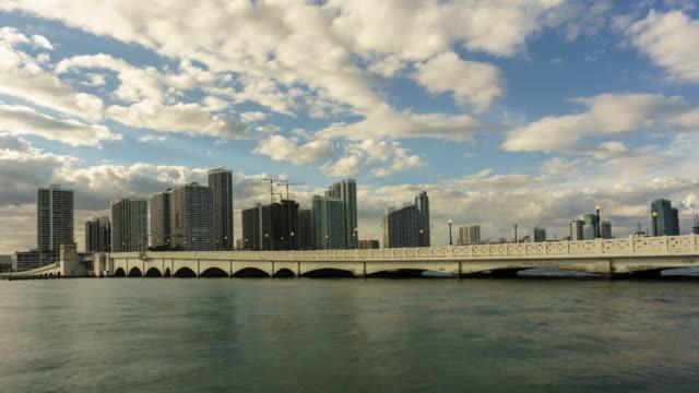 venetian causeway miami - venetian causeway bridge stock videos & royalty-free footage