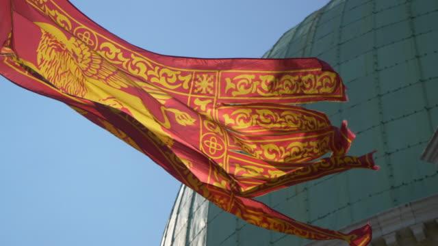 venetian flag waving, venice - venice italy stock videos & royalty-free footage