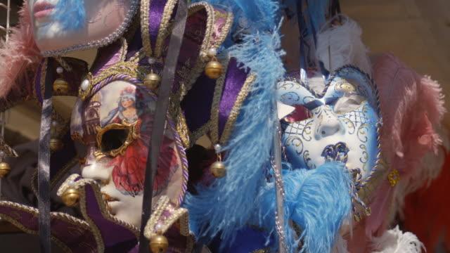 cu, venetian masks, venice, italy - mardi gras stock videos and b-roll footage