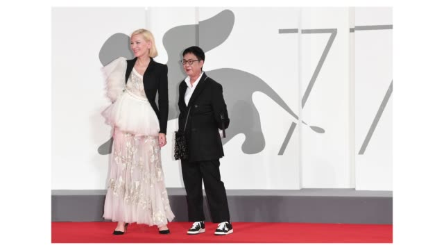 venezia77 jury president cate blanchett and director ann hui arrive on the red carpet ahead of the di yi lu xiang screening during the 77th venice... - gif stock videos & royalty-free footage