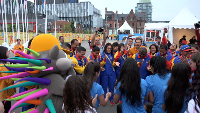 stockvideo's en b-roll-footage met venezuela delegation to toronto panam games the country representation is welcome in the athletes' village the pan american games are the largest... - redactioneel