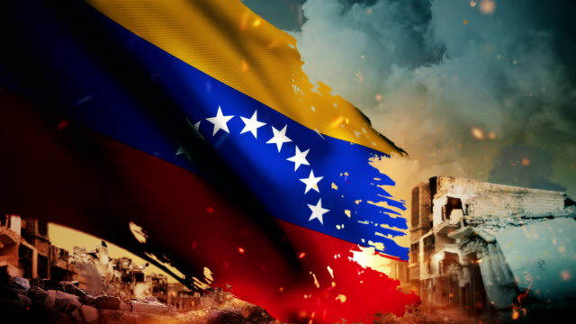 4k venezuela flag - crisis / war / fire (loop) - venezuela stock videos & royalty-free footage