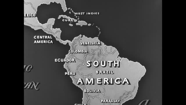 vídeos y material grabado en eventos de stock de venezuela map showing trinidad caracas maracaibo and ciudad bolivar - venezuela