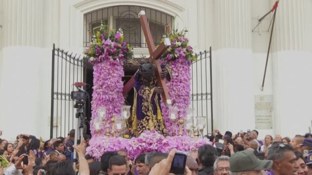 venezuelan catholic faithfuls take part of the traditional nazareno de san pablo procession in the framework of holy week celebrations in caracas and... - holy week stock videos & royalty-free footage