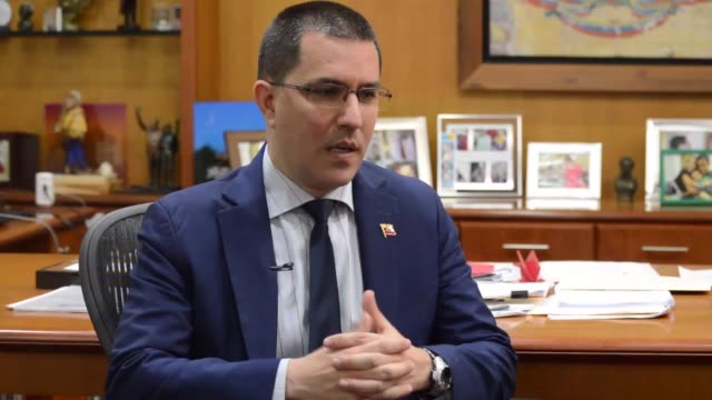 venezuelan foreign minister jorge arreaza speaks during an exclusive interview in caracas venezuela on april 15 2019 - foreign minister stock videos and b-roll footage