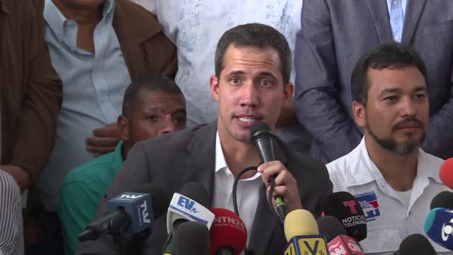 Venezuelan opposition leader and self proclaimed acting president Juan Guaido meets with union leaders in Caracas and says that Venezuelan government...