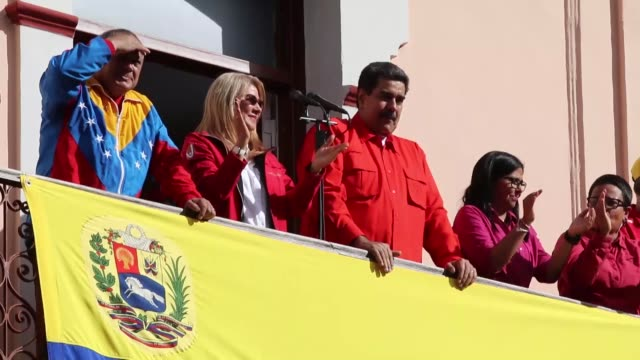 venezuelan president nicolas maduro addresses supporters from a balcony of the miraflores palace, in caracas, venezuela on january 23, 2019.... - venezuela stock videos & royalty-free footage