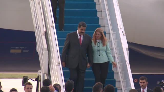 venezuelan president nicolas maduro arrives at esenboga airport in ankara turkey on july 08 2018 president maduro to attend turkish president recep... - maduro stock videos & royalty-free footage