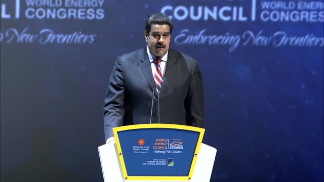 venezuelan president nicolas maduro delivers a speech during the 23rd world energy congress at istanbul congress center on october 10 2016 in... - maduro stock videos & royalty-free footage