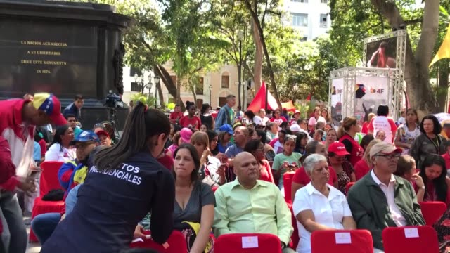 venezuelan president nicolas maduro on february 07 2019 in caracas joins a campaign to collect signatures for a letter to us president donald trump... - maduro stock videos & royalty-free footage