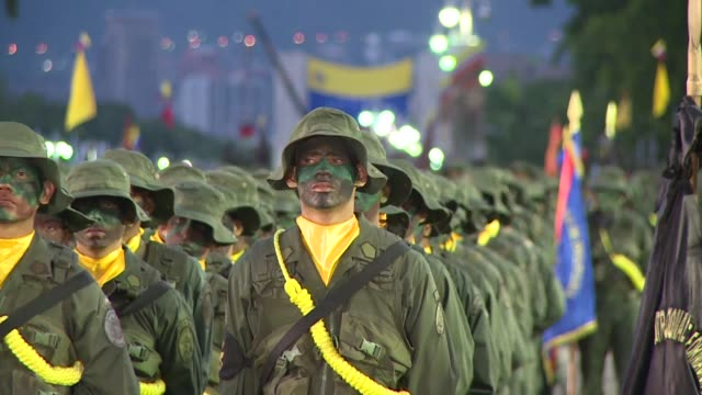 venezuelan president nicolas maduro says he will support the peace process in colombia during a military parade in caracas - military parade stock videos & royalty-free footage