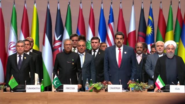 venezuelan president nicolas maduro speaks during the opening ceremony of 18th summit of nonaligned movement in baku azerbaijan on october 25 2019 - maduro stock videos & royalty-free footage