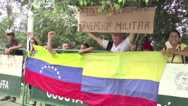 venezuelans in colombia react following us secretary of state mike pompeo's visit to the border - us state border stock videos & royalty-free footage