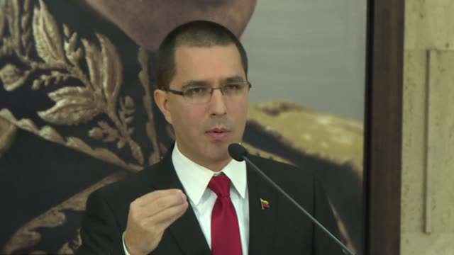 venezuela's foreign minister jorge arreaza says that the us is trying to impose on the world the capitalist dictatorship of the united states as he... - human joint stock videos & royalty-free footage
