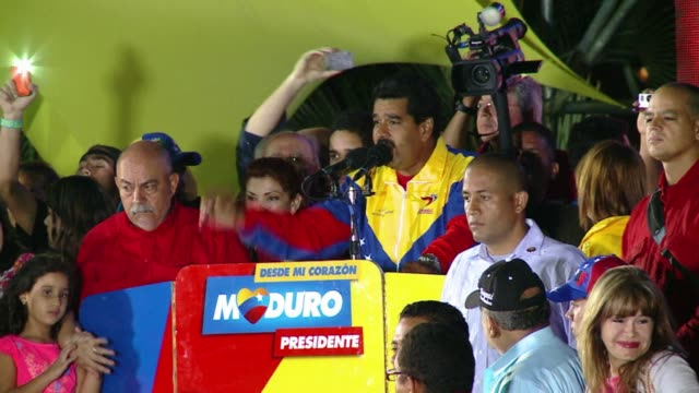 venezuelas interim president nicolas maduro was declared winner of the election on sunday withe just 5066% of votes against opposition leader... - maduro stock videos & royalty-free footage