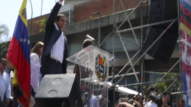 venezuela's opposition leader juan guaido on stage at antigovernment rally in caracas - maduro stock videos & royalty-free footage