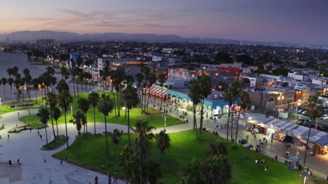 Venice Beach and Boardwalk After Sunset - Drone Shot