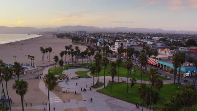 Venice Beach at Sunset From the Air