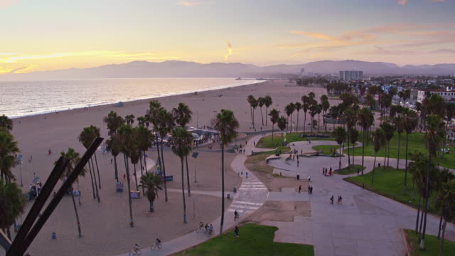 venice beach bike path and skate park - drone shot - venice beach stock videos and b-roll footage