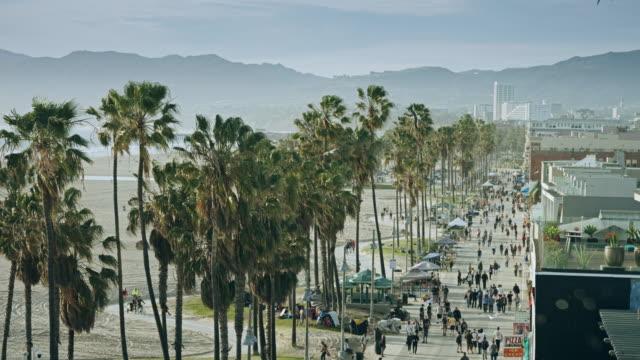 venice beach boardwalk from above - venice california stock videos & royalty-free footage