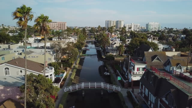 venice beach canals california - pullback aerial drone shot - charming stock videos & royalty-free footage