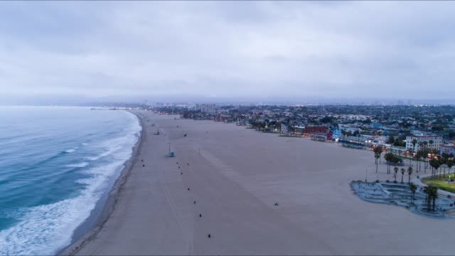 venice beach los angeles aerial time lapse - santa monica stock videos and b-roll footage