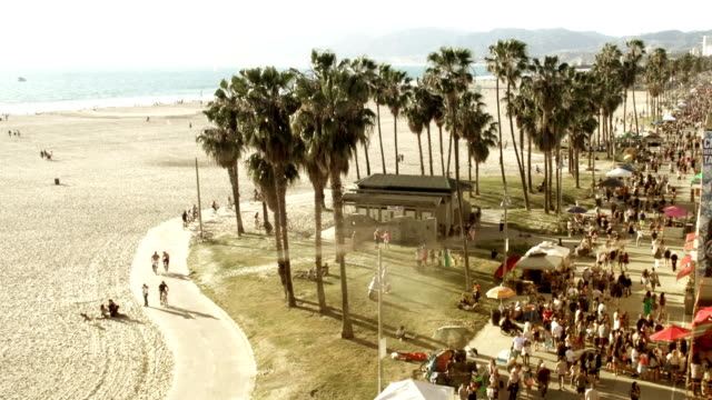 venice beach view - promenade stock videos & royalty-free footage